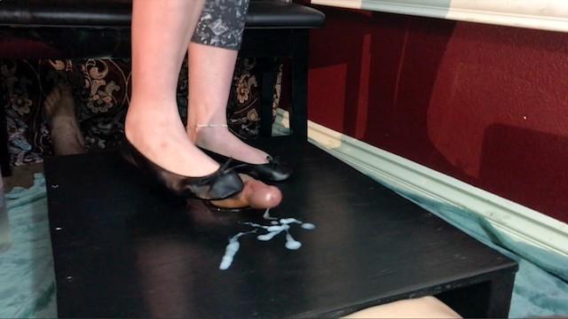 Ballet slipper fetish footjob Chastity cockbox tease release, shoejob cumshot on ballet flats