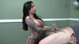 Lily Lane stops by to suck cock and get a cum shot to those huge tits