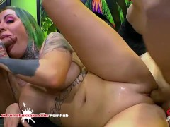 Tattooed Phoenix Madina first huge gangbang for Extreme Bukkake