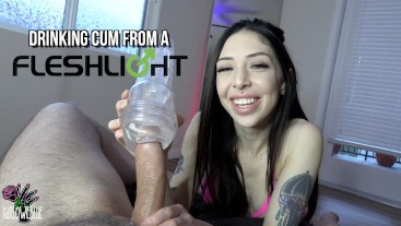 Jerking Him Off & Drinking His Cum From A Fleshlight