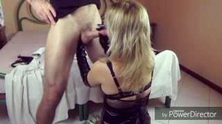 Femdom strapon Blonde fucks guy toys pegging and sucks dick