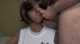 Fully dressed cute doll with big tits and skinny waist getting facefucked.