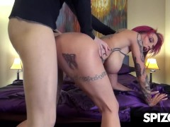 Tattooed redhead slut gets fucked by a monster cock, Anna Bell Peaks