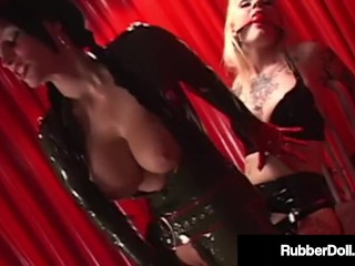 FemDom Latex Queen RubberDoll Fucks Blonde Slave!