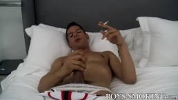 Jock muscle Bobby Hart smoking and masturbation solo