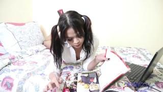 Super cute schoolgirl Pi Ladyboy wanking it and cum