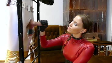 Young Femdom Mistress Teases Slave Cock