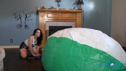 Mega Beach Ball Inflation: MILF pedal pumps to play with giant inflatable