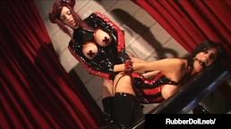 Latex Femdom RubberDoll Gags Slave Idelsy & Unzips Crotch!