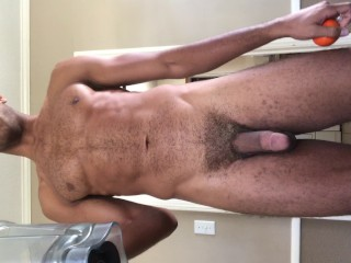 Sexy Blonde Stud Makes Smoothie Naked Huge Balls Thick Hairy Cock...