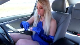 SMOKING PUBLIC GLOVES BLONDE BIG TITS PUBLIC MASTURBATION CIGARETTES FETISH