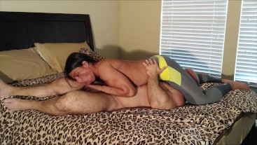 Spandex blowjob ends with fucking