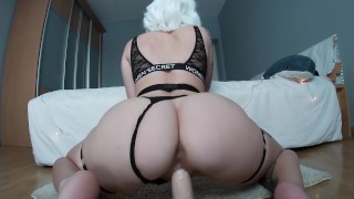 Screen Capture of Video Titled: Blonde girl ride dildo! Creamy pussy :P