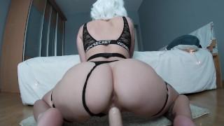 Blonde girl ride dildo! Creamy pussy :P