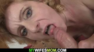 Blonde girlfriends hot mom helps him cum