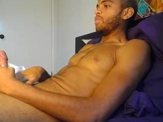 Handsome Stud Wanks Bed Until Hairy Balls Errupt In Cum...