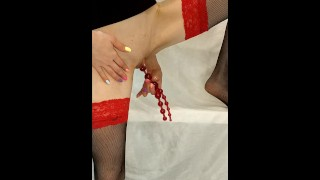 Sensual Masturbation by Red Sex Toy Beads