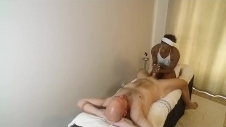 African-Massage-Therapist-gives-American-Hunk-happy-ending-SiaBigSexy