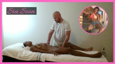 Ebony MILF massaged & finger banged by muscled masseur @SiaBigSexy