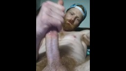Big dick ginger stroking his dick till it gets hard and busts pt.1