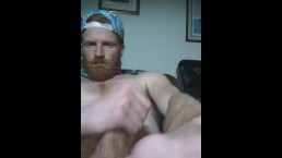 Big dick ginger stroking his dick till it gets hard and busts pt.2 (public)