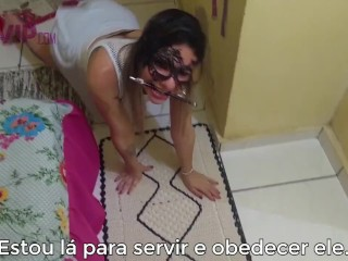 Cristina Almeida Submissa ao Vizinho, humilhada, tapa e gozada na cara