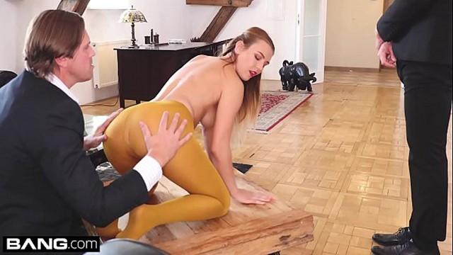 Glamkore – Blonde euro babe takes on 2 cocks in sensual DP