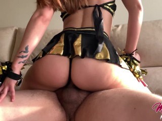 Horny Cheerleader let me cum inside her tight pussy