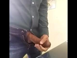 Marlonsexbi shows big cock jacking off at work office