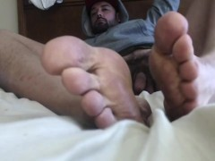 Chilling in Hoodie with Big Size 13 Jock Feet and Cock Out