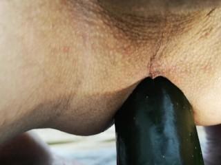 cucumber ass fuck close up