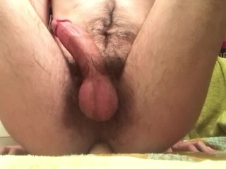 Hot hairy guy doing some anal play