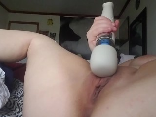 Teen uses vibrator until she cums