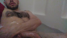 Furry chested man in bubble bath playing for you!!