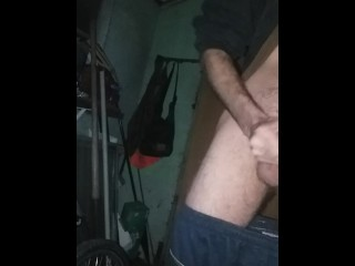 Big cock stroked on front porch. Public. Baby it's cold outside. Shaky legs