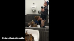 Sucking off his HUGE Load in Gas Station Bathroom for the Gas Money