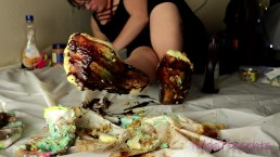 NikkiPresents Destroys White Socks, Wet and Messy Food Play