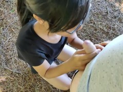 Messy Blowjob in Public Park With Facial