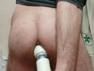 Anal masturbation with a magic wand