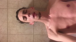 Masterbating POV on face while being in bath