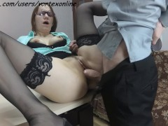 Secretary Suck and Fuck With Her Boss and Swallows Cum