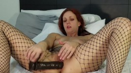 Redhead MILF orgasm in fishnet stockings