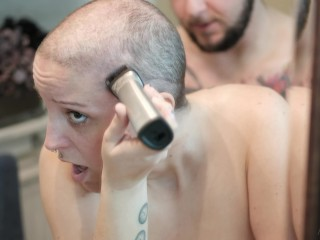 Slut Gets Fucked While Shaving Her Head