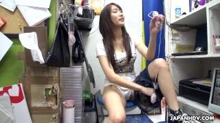 Japanese teen brunette, Mikuni Maisaki is masturbating at work, uncensored