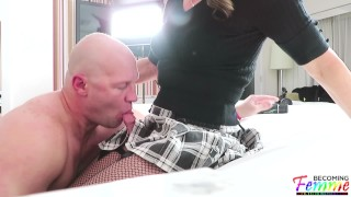 Christian playing with mature sissy crossdresser Jeanne before their scene