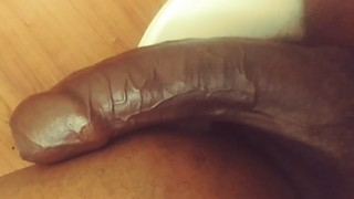Hand job moaning & Stroking Uncut BBC in the bathroom smoking Talking dirty