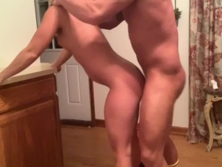 Sexy Blonde Gets Bent Over & Fucked in Black Dress