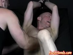 Twink Chet teased with softcore bondage foot fetish torment