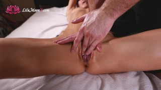 Screen Capture of Video Titled: Lilu Moon Oil Massage and Cum Hard