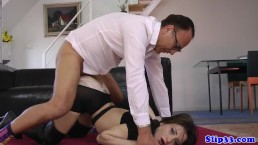 Classy beauty pussyfucked by horny old man